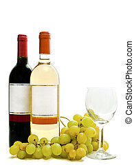red and white wine with vine and wineglass - bottle of red...