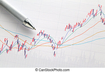 Stock market graph with pen