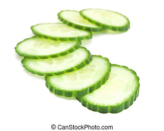 cucumber slices against the white background