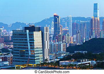 Building in Hong Kong at dusk