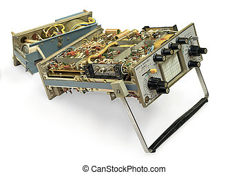 Old oscilloscope. - Old oscilloscope in parts, isolated on a...