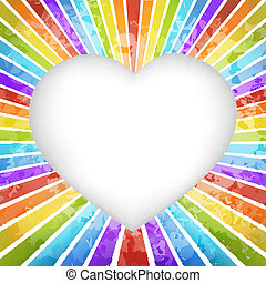 Retro rainbow heart background - Rainbow heart background...