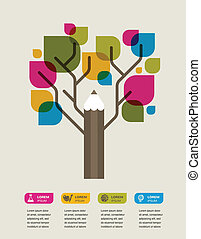 colorful education tree with pencil and text space - pencil...