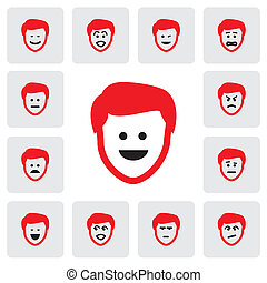 different emotions and feelings of young mans face- vector...