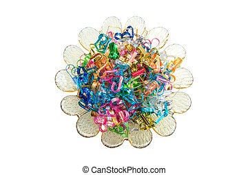 Colorful wire ribbon heart