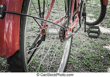 A red bicycle is parking on the lawn