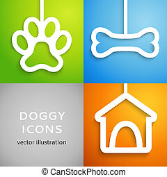 Set of applique doggy icons. Vector illustration for happy...