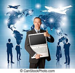 Conceptual Business Background - Travel concept. Businessman...
