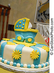 baby boy birthday cake with cute ca