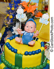 baby boy birthday cake with cute do