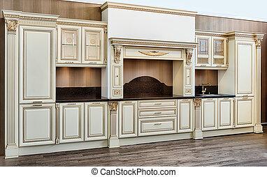 Modern kitchen - white modern kitchen room in classical...