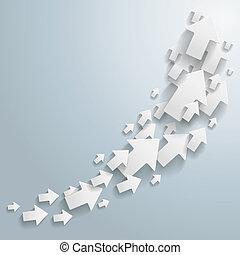 White Arrows Chart - White arrows on the grey background.