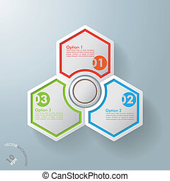 Three Hexagons With Round Centre - White hexagos with...