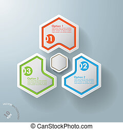 Three Hexagons With Hexagon Centre - White hexagos with...