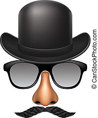 Funny mask made of glasses, mustache, nose and bowler hat on...