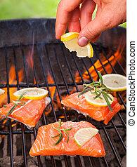 grelhados, salmão