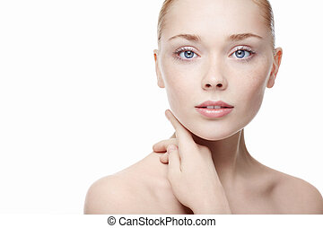 Skin care - Young beautiful girl on a white background