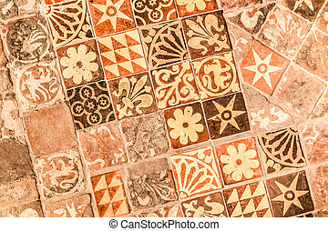 medieval tiles - background of hand painted medieval floor...