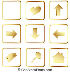 gold square web buttons - Illustration of the gold square...