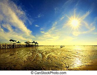 view of pier under sun star