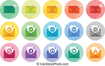 E-mail icons set - Vector collection of modern e-mail icons...