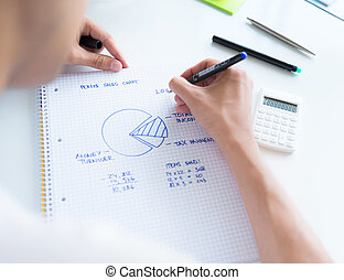 Calculating sales earnings - Person sitting at the desk,...