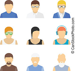 Stylish male character set - Vector collection of stylish...