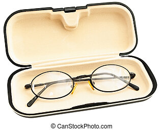 eyeglasses in eyeglass case against the white background