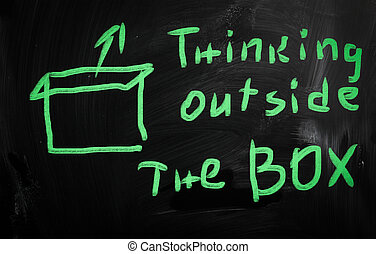"""Think outside the box"" handwritten with white chalk on a blackboard"