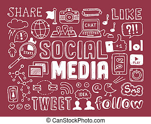 Social media doodles elements - Hand drawn vector...