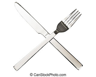 Crossing fork and knife - Crossing silver fork and knife...