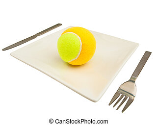 knife, fork and ball - knife, fork and tennis-ball at plate...