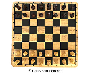 chess-board with chess against the white background
