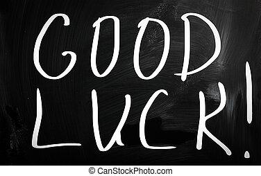 """""""Good, luck!"""", manuscrito, blanco, Tiza, pizarra"""