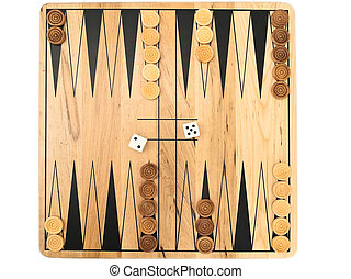 backgammon - Photo of backgammon game against the white...