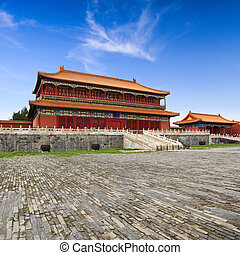 beijing forbidden city building ,the pavilion is qing...