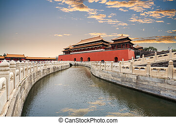 the forbidden city with gold water bridge - the forbidden...