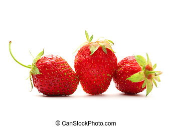 Ripe strawberry on white background