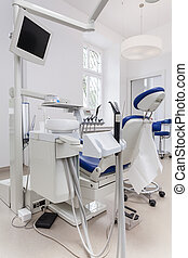 Dental seat - Vertical photo of a dental seat with equipment