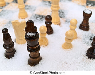 chess in snow