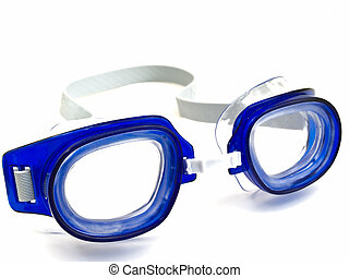 swimming glasses - blue swimming glasses against the white...