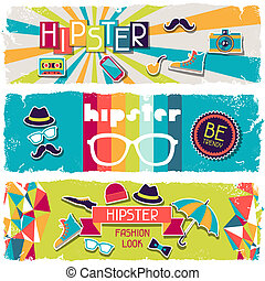 Hipster horizontal banners in retro style