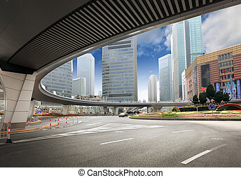 shanghai downtown center in the afternoon
