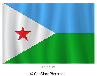 Djibouti flag with title on the white background