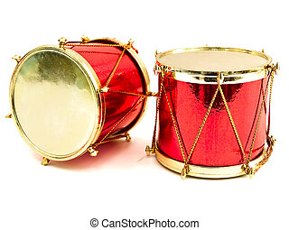 little drums - red toy as drum against the white background