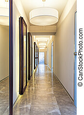 Corridor - New modern corridor with mirrors, vertical view