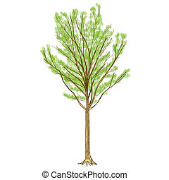 Tree - Hand Drawn vector - The abstract of Tree - Hand Drawn...
