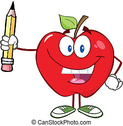 Red Apple Holding Up A Pencil - Happy Red Apple Character...