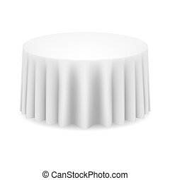 Dining table - White round table with tablecloth....