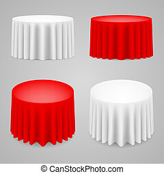 Dining tables set with tablecloth Illustration on white